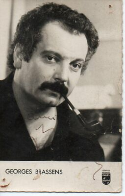 Carte postale photo Georges Brassens dédicacée