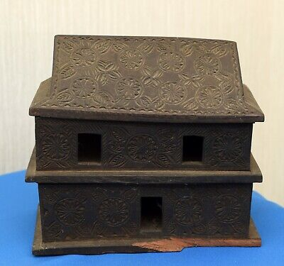 19th CENTURY WOODEN NOAH'S ARK  CARVED DECORATION ANTIQUE TOY MODEL