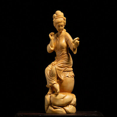 Boxwood Hand Carving Statue Figure Sculpture Collection Women Wood Craft Gift