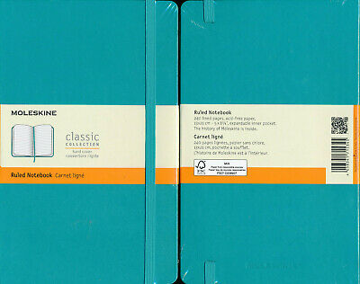 Moleskine Classic Collection Ruled Notebook Hard Cover Large Reef Blue