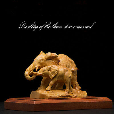 The Elephant Animal Boxwood Carving Exquisite Carving Arts and Crafts Statue