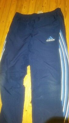 Adidas Girl's Children's Trousers Girls large L blue tracksuit jogging bottom