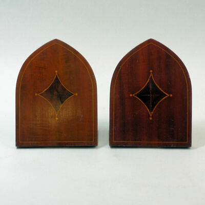 Antique Pair Of Edwardian Asprey & Co Mahogany & Brass Bookends C.1910