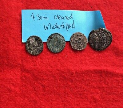 Ancient Roman Coins- Lot of 4 semi-cleaned & unidentified