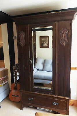 Good Antique Edwardian Wardrobe - Carved Arts And Crafts Art Nouveau Decoration
