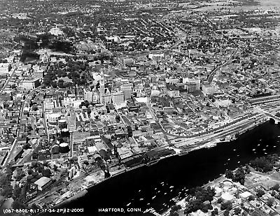 1934 AERIAL VIEW of Hartford, Connecticut Vintage Old Photo 8 5