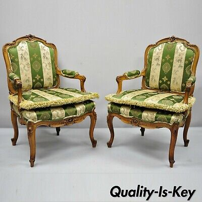 Pair of Early 20th C French Louis XV Style Cream Gold Walnut Fauteuil Arm Chairs