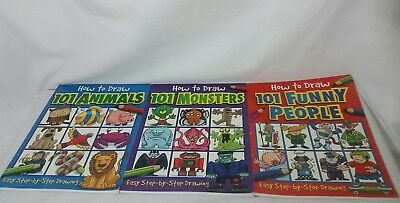 How To Draw 101 Funny People, Animal, Monsters Lot Of 3 Books Unused