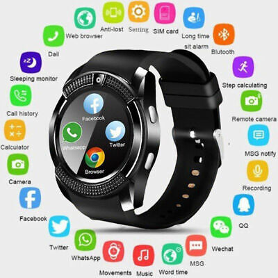 LATEST V8 Bluetooth Smart Watch 0.3MP Camera SIM Slot For Samsung Android iPhone