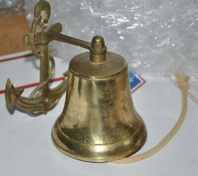 Vintage Nautical Decor Brass Ship Boat Bell Anchor Marine Wall Mount