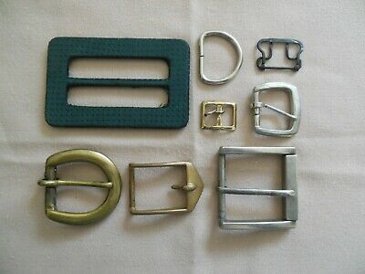 Lot Of Assorted Belt Buckles And Slides - Brass, Bronze, Mixed Metal & Fabric