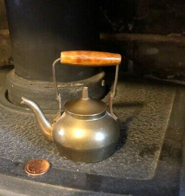 Miniature Brass Copper Kettle With Lid And Wooden Handle
