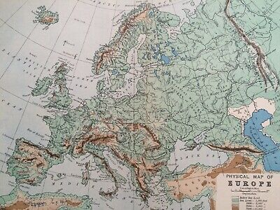 1900 Europe (Physical) Original Antique Map Mounted and Matted Vintage Wall Art