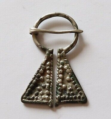 AUTHENTIC MEDIEVAL VIKING SILVER PENANNULAR OMEGA BROOCH 8th - 10th Century