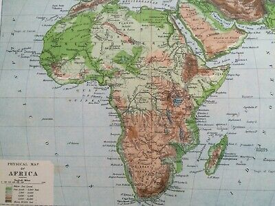 1900 Africa (Physical) Original Antique Map Mounted and Matted Vintage