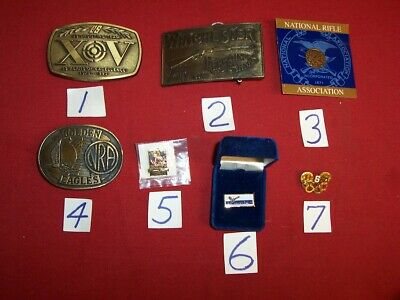 NRA, Winchester, Etc. Belt Buckles, Lapel Pins