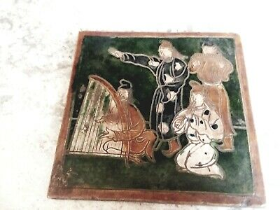 """Old Chinese Hand Painted Porcelain Tile Plaque 8 X8 X 1/2"""" Maybe Watermark on Ba"""