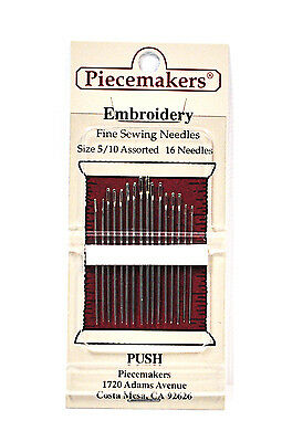 Piecemaker Embroidery Fine Sewing Needles Sizes 5/10 Assorted