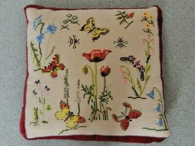 Vintage Wool Needlepoint Embroidered Butterfly Cushion