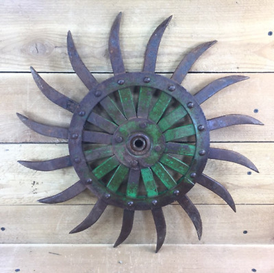 JD Rotary Metal Cast Iron Spike Cultivator Rotary Hoe Wheel Sunflower Vintage