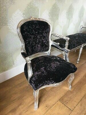 BLACK CRUSHED VELVET FRENCH STYLE LOUIS CHAIR silver, gold, black frame!