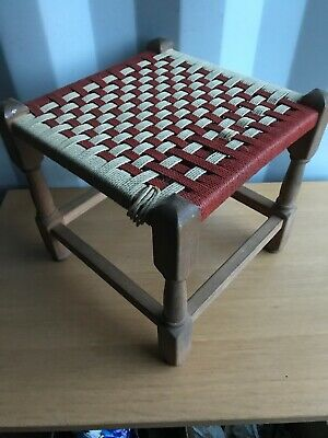 Vintage & Rustic Small Stool with Twisted Wood Legs & String Top - 12 Inch High