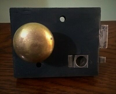 Victorian Georgian Privacy Lock with Steel Slide Bolt and Brass Door Knob