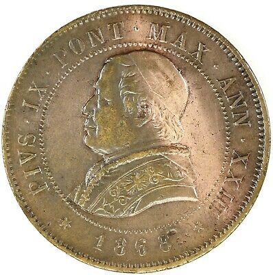 Raw 1868 R Papal States - Vatican 4 Soldi Circulated Coin