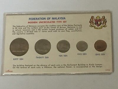 Federation Of MALAYSIA 1967 COIN SET 5 Coins One Sen - Fifty Sen Uncirculated