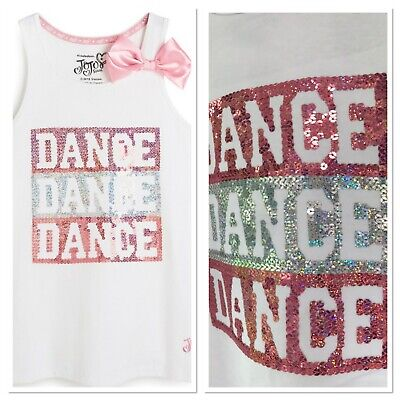 BNWT PRIMARK JOJO SIWA white vest with pink bow & sequins 7-13 years dance gym