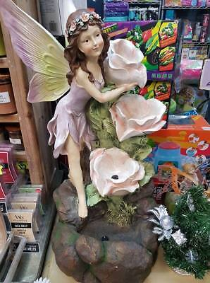 Fairy On Rocks With Flowers Feature Fountain Home Garden Statue Ornament