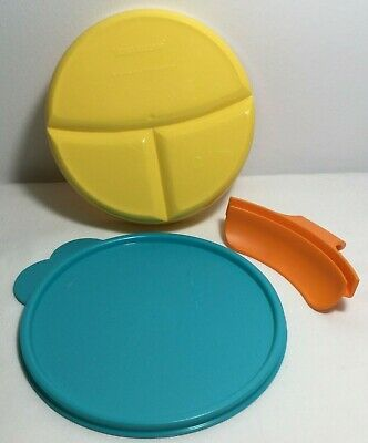Tupperware Divided Dish Kids Babies #2552A-4 & Easy Grip Handle Yellow Blue