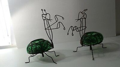 2 Rare Blown Glass & Metal Wire Art Green Insect PRAYING MANTIS CANDLE HOLDERS