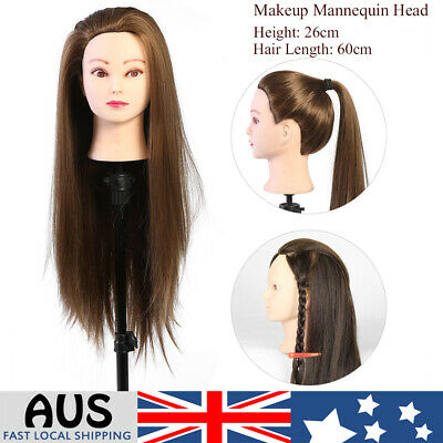 Hairdressing Human Hair Head Mannequin Makeup Cosmetology Model Manikin AU 1PC