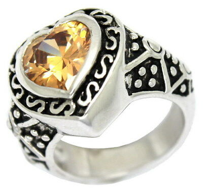 BOLD ANTIQUE Style Oxidized Ring with Simulated Citrine Heart Center Stone