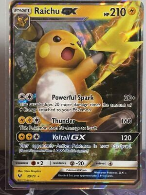 Pokemon Card Raichu GX 29/73 Shining Legends NM Condition