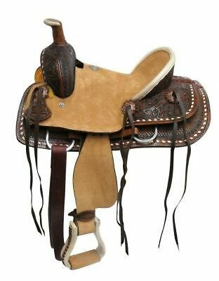 """12"""" Double T Youth Hard Seat Roper Style Saddle W/ Basket & Floral tooling!"""