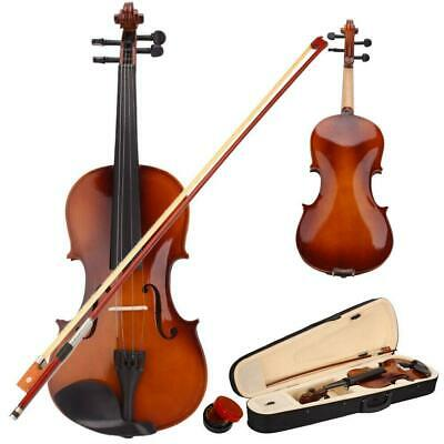 3/4 Size Acoustic Violin + Case + Bow + Rosin Natural for Beginner Student New