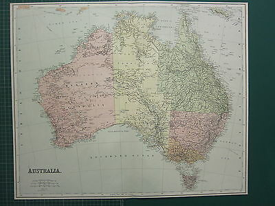 1902 Large Antique Map ~ Australia ~ Queensland Victoria Tasmania Victoria