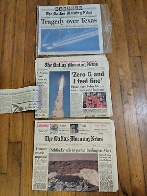 3 Vintage Space NASA Newspapers Mars Rover Columbia Explosion John Glenn Dallas