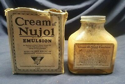Vintage Nujol Glass Bottle Mineral Oil w original box Apothecary quack medicine