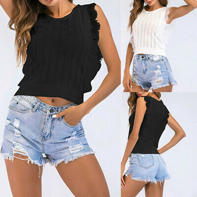 Womens Summer Casual Lace Sleeveless Blouse Tank Tops Camisole Tube Top Vest CL