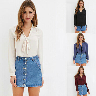 Fashion Office Blouse Women Butterfly Long Sleeve Shirt Bow Tie Blouse Tops FW