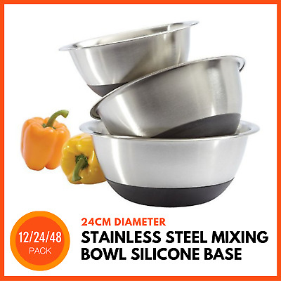 STAINLESS STEEL MIXING BOWL NON-SLIP BASE 24 cm | Meal Prep Salad Fruit Bowl