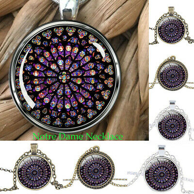 2019 Notre Dame de Paris Cathedral Rose Window Stained Glass Pendant Necklace