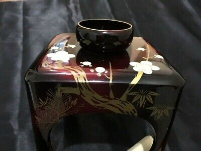 Antique Japanese wood LACQUER ware SAKE cup stand table MAKIE cuisine SAKAZUKI