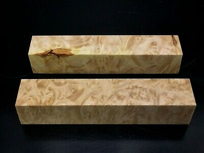 "PB2) 2 Maple Burl Pen Turning Blanks 7/8""(+/-) Reel Set"
