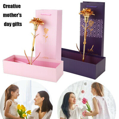 24K Gold Foil Carnation Flowers Mother's Day With Box Floral Charm Gifts Decor
