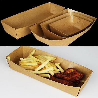 50pcs Kraft Paper Food Tray Party Catering Plate Disposable Paper Food Bowls