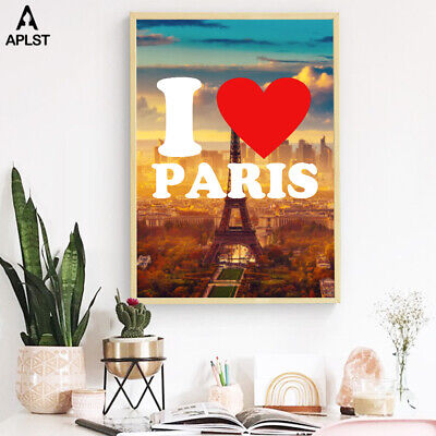 I Love Paris Eiffel Tower Prints Painting Wall Art Posters Pictures Home Decor